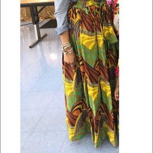 African Fabric High Waist Bow Tie Skirt